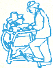 David Baggia Mobile Knife Grinding company logo - man sharpening knife on grinding wheel.